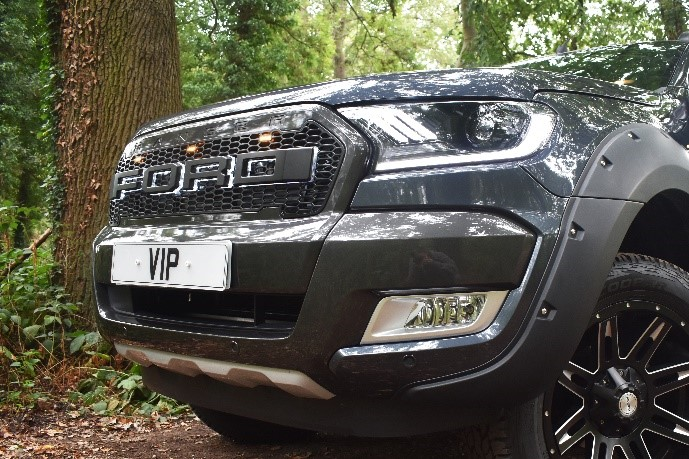 Ford Ranger tuning and styling front LED grille and Mustang headlights and wheel arches